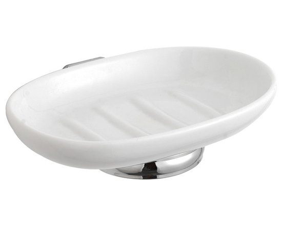 Hudson Reed - Ceramic Soap Dish & High Quality Brass Holder Complete & Fixings - Our high quality brass, luxury range of Victorian style bathroom accessories. Ceramic Soap Dish & Holder Dimensions:  Height: 2.3 (59mm) Width: 5.1 (129mm) Depth: 4.6 (118mm) Available in Chrome Finish. Supplied with screws and wall plugs for wall attachment.