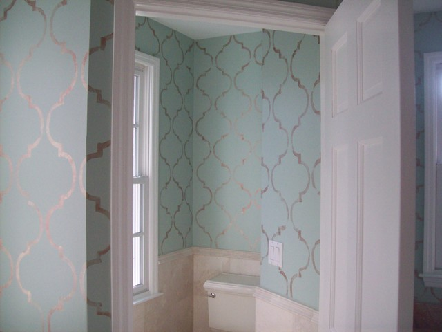 Stamped Wallpaper - Traditional - Bathroom - tampa - by Äbby Kent Art Services