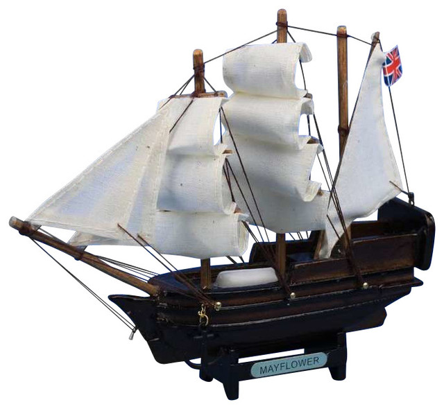 """Mayflower 7"""" - Wooden Model Tall Ship traditional-home-decor"""