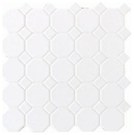 White Ceramic Octagon Dot Mosaic Tile traditional bathroom tile