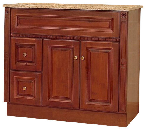 Jsi Newport Birch Bathroom Vanity Base Cherry 36 Wood Frame Left Hand Drawers Traditional