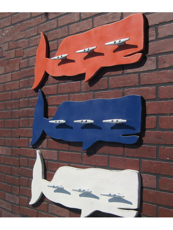 Distressed Whale Coat Rack with Boat Cleats by The Project Cottage -