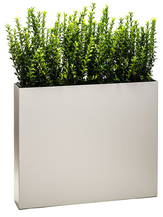 """Modern Planter - Partition Tower Planter - Dove, Standard - The """"Partition"""" tower planter is a functional modern plant container that is nearly 3 feet in height (34"""") and narrow from front to back making it the perfect product to create a wall of plants or a partition to separate spaces."""