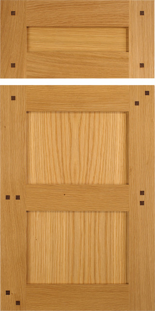 Shaker Style Cabinet Doors In White Oak With Walnut Pegs