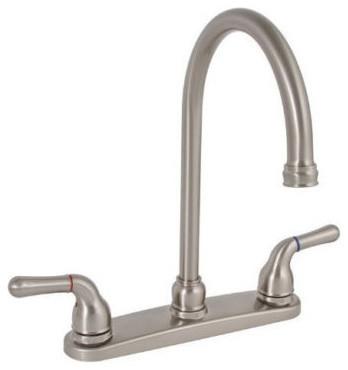 Premier Sanibel  Gooseneck Spout Kitchen Faucet  Brushed Nickel - Lead Free traditional-kitchen-faucets