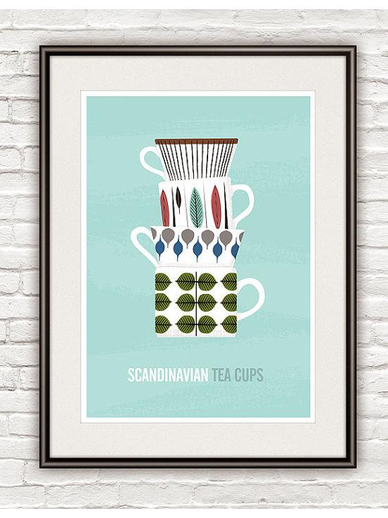 Scandinavian tea cups kitchen art print -