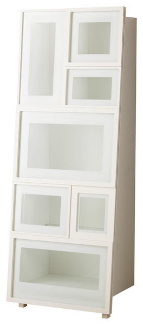 Ikea PS 2012 Glass-Door Cabinet, White modern bookcases cabinets and computer armoires