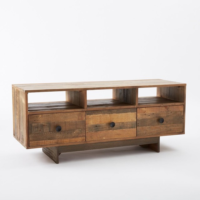 Emmerson Media Console Reclaimed Pine Rustic Tv Cabinets And Stands By West Elm Uk