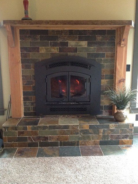 slate tile and a reclaimed heart pine mantel by wiggers construction inc. Black Bedroom Furniture Sets. Home Design Ideas