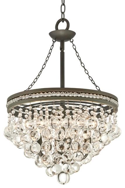 "Crystal Regina Olive Gray 19"" Wide Crystal Chandelier contemporary-chandeliers"
