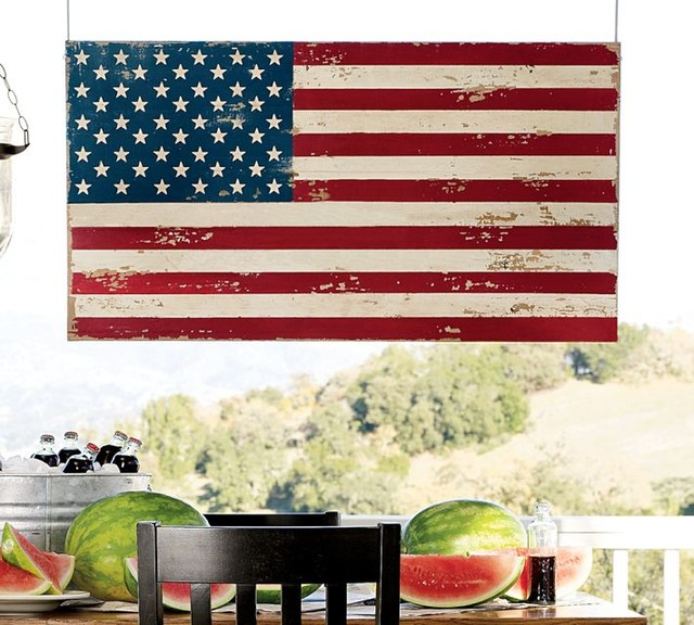 Painted american flag traditional holiday decorations for American flag decoration