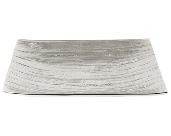 "Lazy Susan - Aluminum Bark Platter, Small - Stunning silver sculpted into a pattern inspired by the bark of the Everglades makes an enchanting platter. The curved shape has four pretty aluminum feet, which keep it in perfect balance. Ideal topped with decorative accessories or displayed as a work of art it is sophisticated and organic. small: 9""x9""x1.25"" large: 15.75""x15.75""x2.5"""