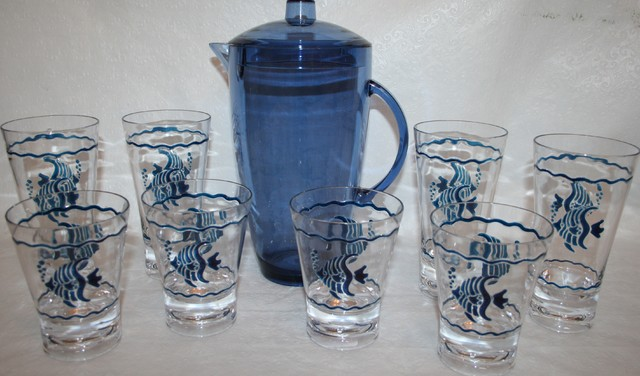 Navy Blue Tropical Fish Acrylic Glassware Set tropical-everyday-glassware