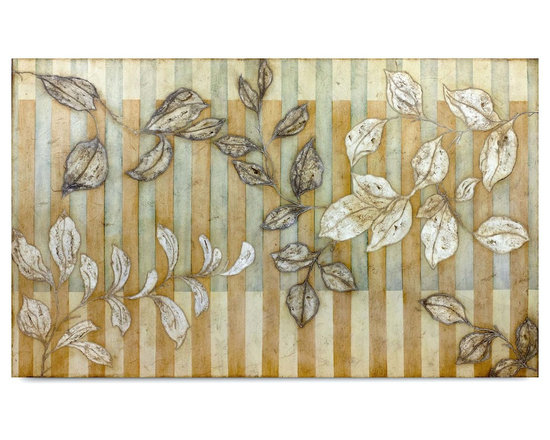 """Vertuu Design - 'Neima' Artwork - An earth-toned color palette and simple stripe pattern combine to give the """"Neima"""" Artwork its fresh, unique look. Silver leaf accents on the branches of leaves add texture and shine to the piece, while the distressed vertical stripes provide balance. Hang it above a bed or dresser as an intriguing focal piece."""