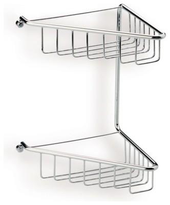Chrome Wire Corner Double Shower Basket contemporary-shower-caddies