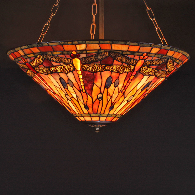 27-Inch Vision of Dragonflies Tiffany-Style Gemstone Flush Mount Ceiling Lamp traditional-flush-mount-ceiling-lighting