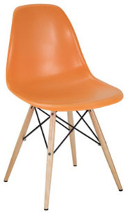 Plastic Side Chair in Orange with Wooden Base modern-living-room-chairs