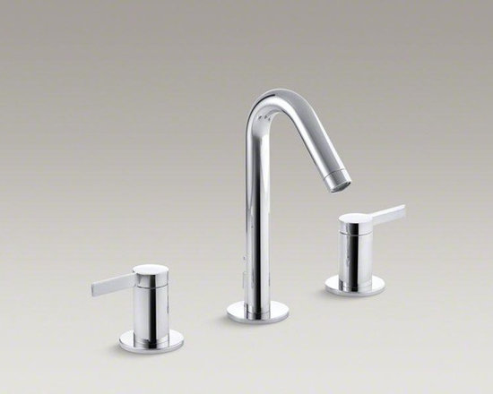 KOHLER Polished Chrome Stillness® Widespread Bathroom Sink Faucet - Understated form and detail characterize Stillness faucets. This widespread sink faucet features an elegant, fluid style that brings a calming presence to your bathroom decor. The faucet trim includes a graceful spout and ergonomic lever handles for easy operation. Easy-to-install and leak-free UltraGlide valves come with the trim to provide excellent performance.