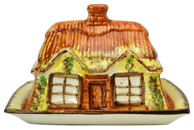 Consigned Novelty English Thatched Cottage Shaped Ceramic Butter Dish traditional-tabletop