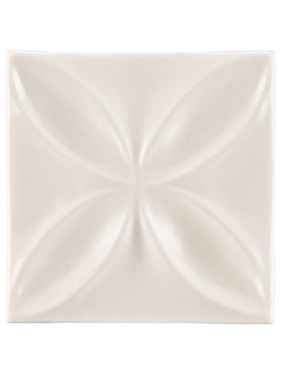 "Ceramic - ANN SACKS Circa 4"" x 4"" quatrefoil decorative ceramic tile in warm candle white gloss"