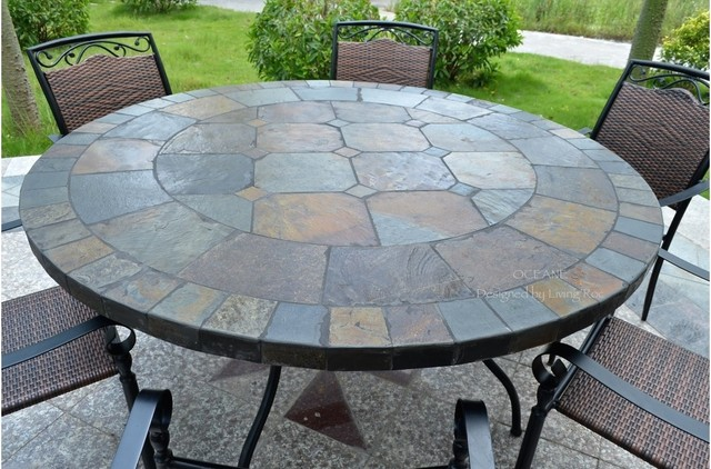 "OCEANE 49"" & 63"" MOSAIC SLATE STONE GARDEN PATIO TABLE Crafts"