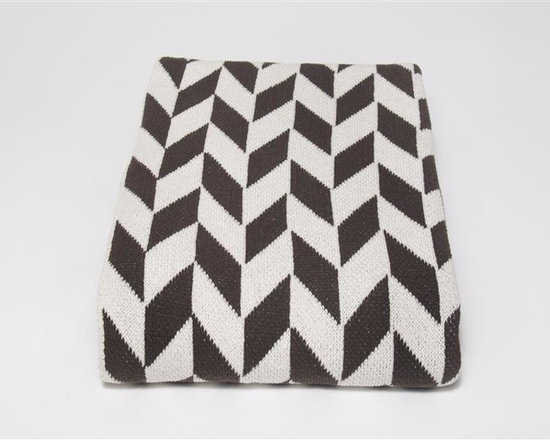Eco Chevron Throw Blanket-Chocolate - This modern stripe throw blanket features a geometric pattern to add a peak of interest to your favourite space. Use this on-trend throw to accent your bedroom, living room or den. Choose from a variety of colors.