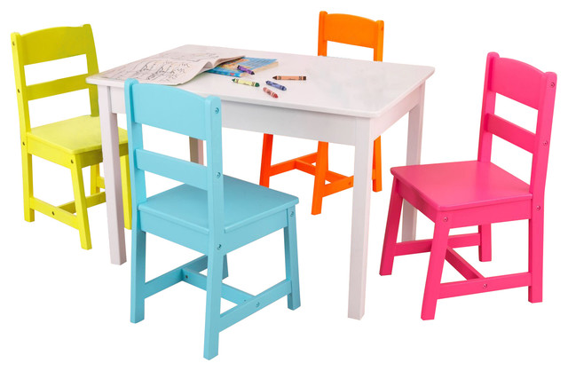 5 Piece Kids Table And Chair Set Contemporary Kids