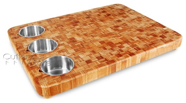 Bamboo Cutting Board with Stainless Bowls  knives and chopping boards