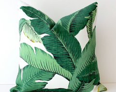 Green Floral Decorative Designer Pillow Cover By Whitlock & Co. tropical-decorative-pillows
