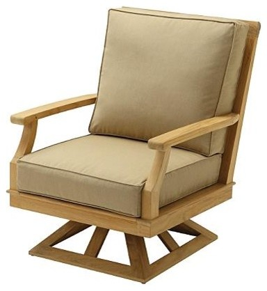 Cape Swivel Outdoor Rocker Arm Chair With Cushions Patio