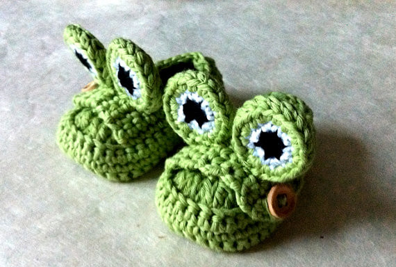 Green Frog Baby Booties, Loafer Style by Thread, Etc. eclectic