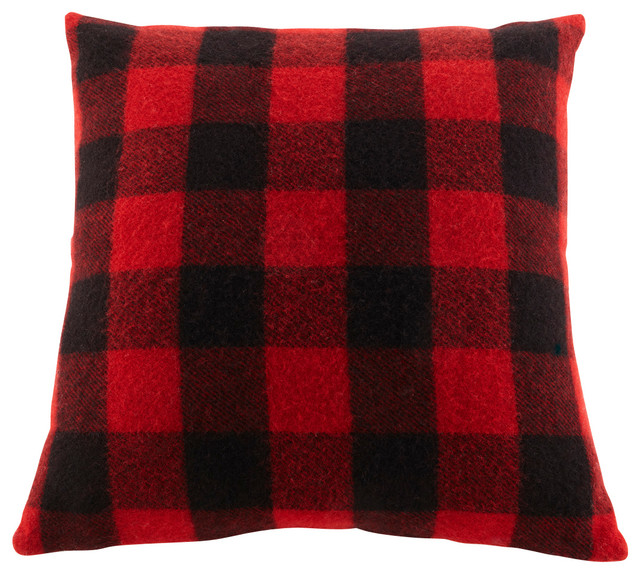 Faribault Pillows, Buffalo Check-Red/Black - Rustic - Decorative Pillows - by Faribault Woolen ...