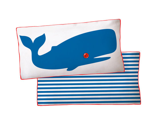 Naked Decor Blue Whale Reversible Pillow