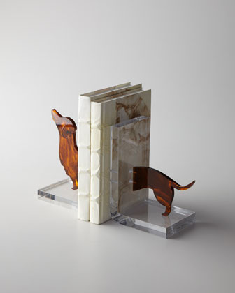 Lucite Dachshund Bookends traditional-bookends