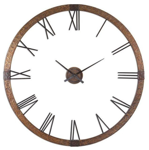 pre owned large copper brass wall clock industrial