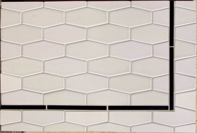 Elongate Hex tiles eclectic kitchen tile
