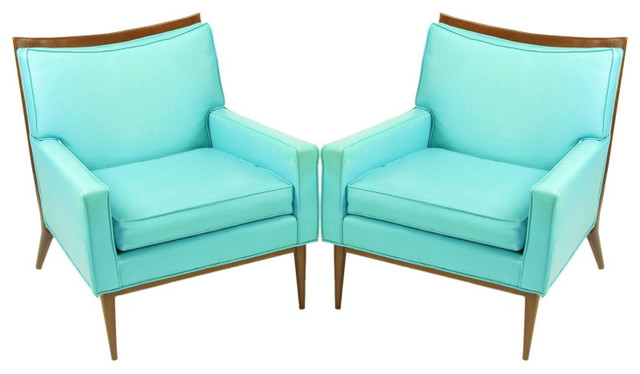 Pair Paul McCobb Turquoise & Walnut Club Chairs modern-armchairs-and-accent-chairs