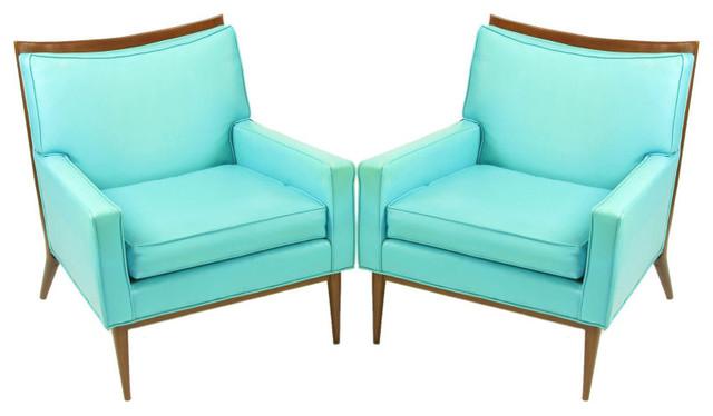 Pair Paul McCobb Turquoise & Walnut Club Chairs modern-armchairs