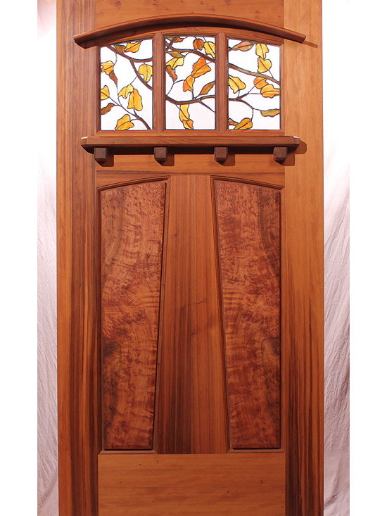 The Entradero House Entry Door - Brian Lee Designs, Zoleta Lee Designs, MendocinoDoors.com, The Entradero House Entry Door, It is made of solid vertical grain Old Growth Redwood with a beautiful stained glass window by Zoleta Lee Designs.  With birds-eye burl panels and a redwood Dentil shelf.