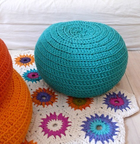 Small Crocheted Pouf eclectic-ottomans-and-cubes