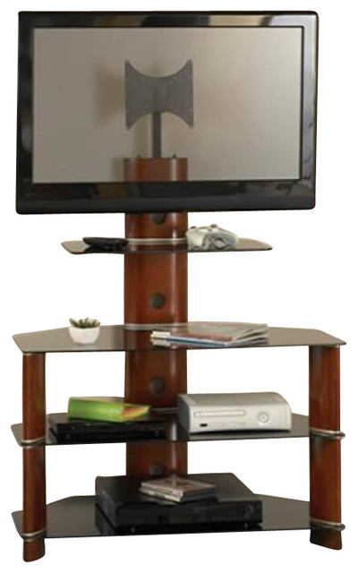 bush segments wood bedroom height tv stand in rosebud cherry