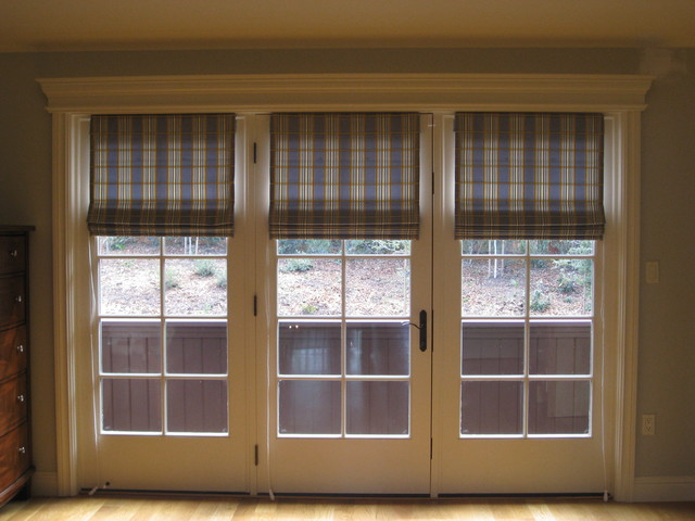 Custom window treatments eclectic roman shades other for Custom french doors