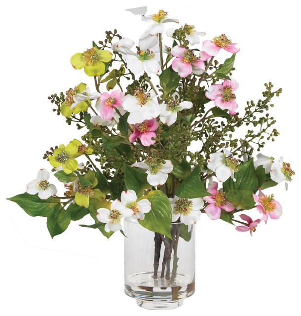 Nearly Natural Dogwood Silk Flower Arrangement traditional-artificial-flowers