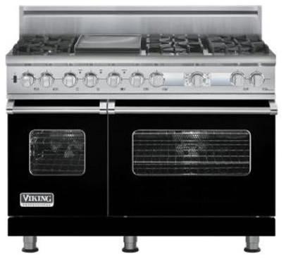 "Viking 48"" Pro-style Dual-fuel Range, Black Natural Gas | VDSC548T6GBK gas-ranges-and-electric-ranges"