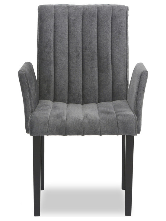 Bryght - Strip Ash Fabric Upholstered Dining Armchair - The Strip dining armchair, with its sophisticated and contemporary style, offers long lasting comfort. The Strip dining armchair's unique display of individual parallel grooves sewn into its upholstery lends it a chic and luxurious feel