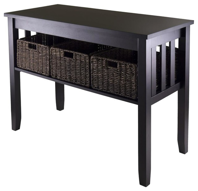 Espresso Foyer Bench : Console hall table in espresso finish contemporary