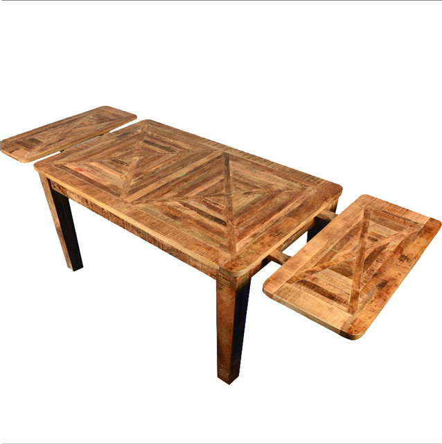 Rustic Mango Hardwood Parquet Extendable Dining Table