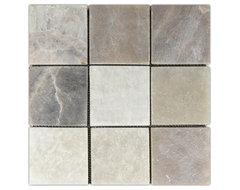 "Mixed Quartz 4"" x 4"" Stone Mosaic Tile modern-mosaic-tile"