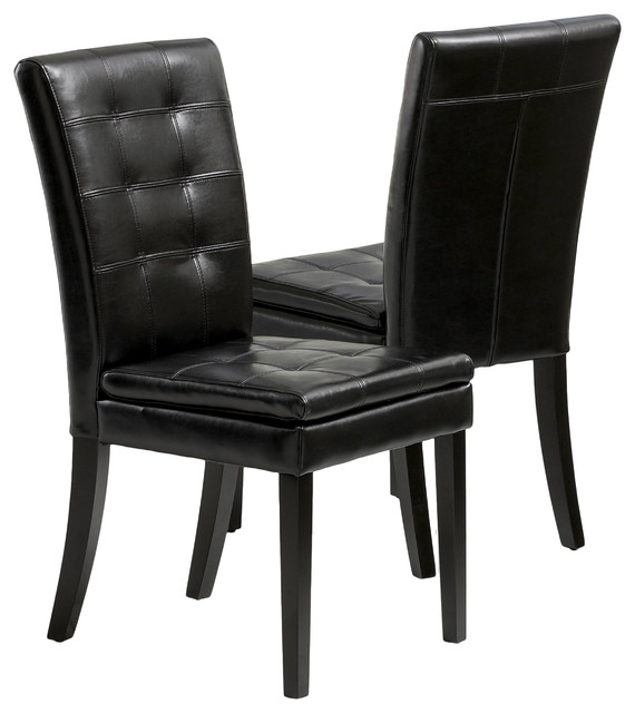 Bartley Elegant Black Leather Dining Chair Set of 2
