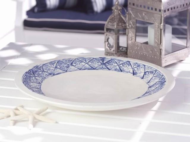 Earthenware Platter with Mediterranean Beach House Pattern